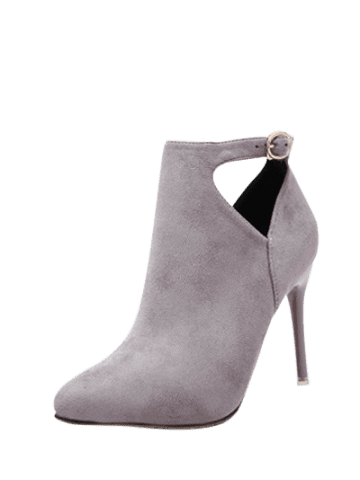 Fashion Suede Stiletto Heel Cut Out Ankle Boots - 38 LIGHT GRAY Mobile