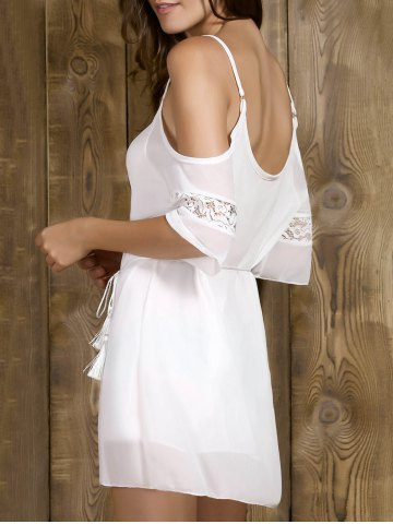 Online Cold Shoulder Rope Belt Slip Club Dress - M WHITE Mobile