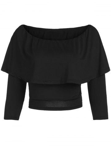 Fashion Stylish Off The Shoulder Flouncing Cropped T-Shirt For Women BLACK 2XL