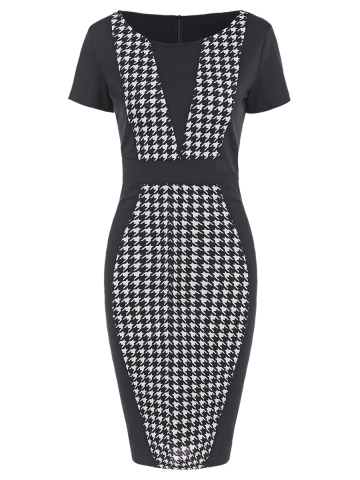 Chic Houndstooth Pencil Dress with Sleeves BLACK 2XL