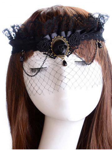 Shop Rose Water Drop Forehead Chain Party Mask BLACK