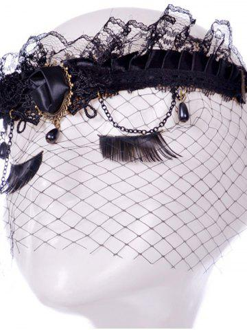 New Rose Water Drop Forehead Chain Party Mask - BLACK  Mobile