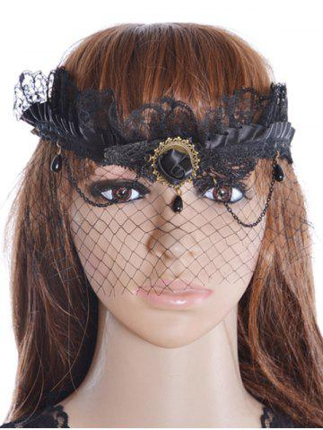 Chic Rose Water Drop Forehead Chain Party Mask - BLACK  Mobile