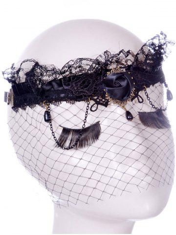 Affordable Rose Water Drop Forehead Chain Party Mask - BLACK  Mobile