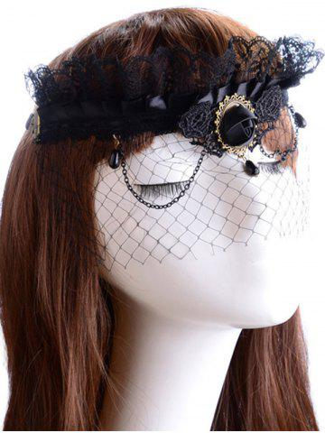 Unique Rose Water Drop Forehead Chain Party Mask - BLACK  Mobile