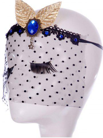 Outfit Faux Sapphire Leaf Hair Accessory Party Mask - BLACK  Mobile