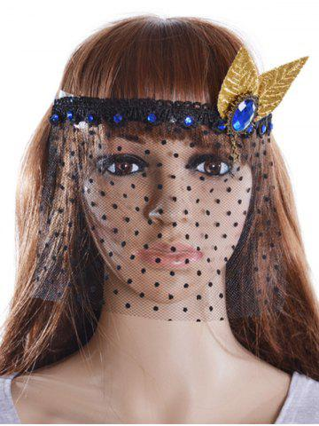New Faux Sapphire Leaf Hair Accessory Party Mask - BLACK  Mobile