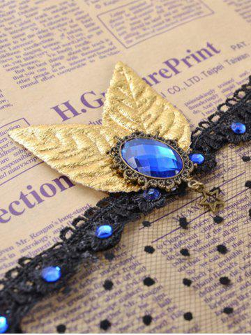 Latest Faux Sapphire Leaf Hair Accessory Party Mask - BLACK  Mobile