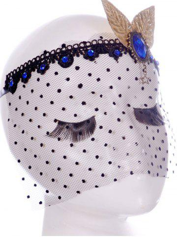 Buy Faux Sapphire Leaf Hair Accessory Party Mask - BLACK  Mobile
