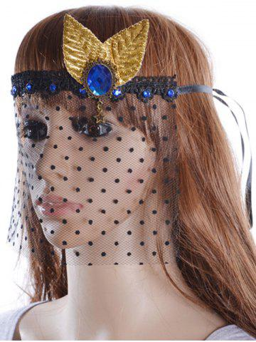 Store Faux Sapphire Leaf Hair Accessory Party Mask - BLACK  Mobile