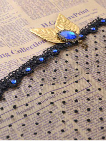 Online Faux Sapphire Leaf Hair Accessory Party Mask - BLACK  Mobile
