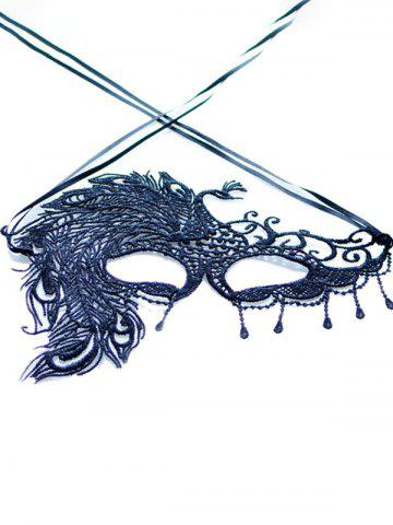 Latest Faux Lace Peacock Feather Party Mask - BLACK  Mobile