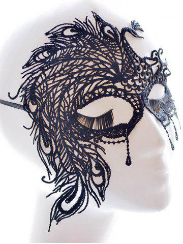 Outfit Faux Lace Peacock Feather Party Mask - BLACK  Mobile