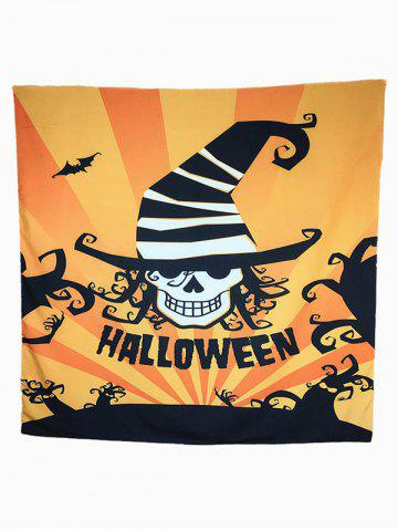 Sale Halloween Carnival Skull Bat Pattern Big Square Scarf ORANGE