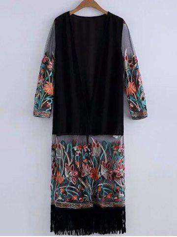 New Casual Open Front Embroidered Fringed Women's Cover-Up