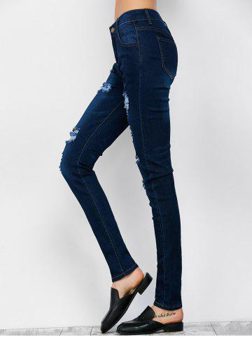 Store Low Rise Ripped Skinny Jeans - S DEEP BLUE Mobile
