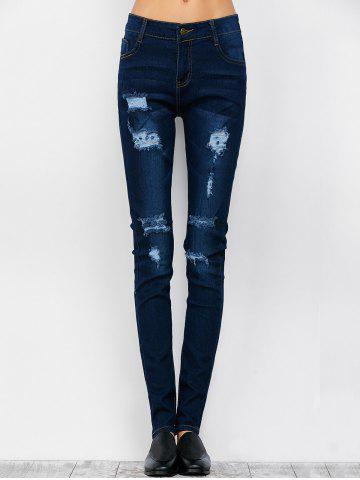 New Low Rise Ripped Skinny Jeans - S DEEP BLUE Mobile