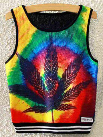 Outfits Maple Leaf Print Cropped Tank Top BLACK ONE SIZE(FIT SIZE XS TO M)