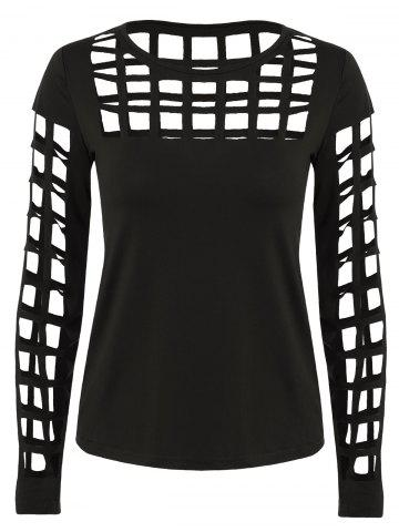 Shops Long Sleeve Ripped Cutout Tee BLACK L