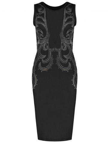 Low Cut Mesh Sequined Bodycon Dress - Black - Xl