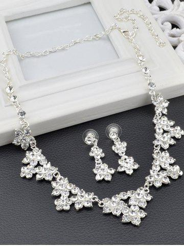 Online Fake Crystal Flower Wedding Jewelry Set - SILVER  Mobile