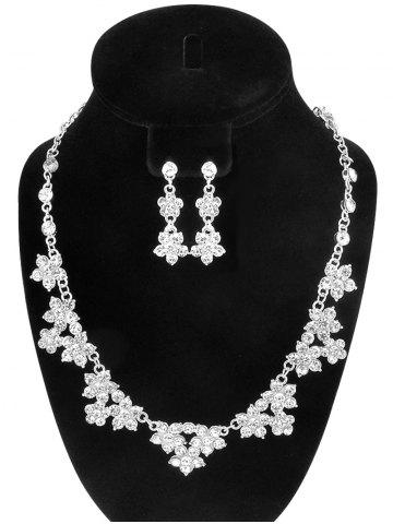 Sale Fake Crystal Flower Wedding Jewelry Set - SILVER  Mobile