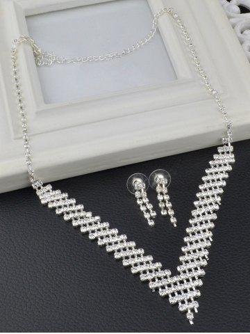 Latest Rhinestoned Hollow Out Wedding Jewelry Set - SILVER  Mobile