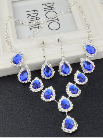 Affordable Teardrop Fake Crystal Wedding Jewelry Set - BLUE  Mobile