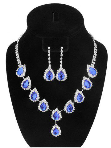 Latest Teardrop Fake Crystal Wedding Jewelry Set BLUE