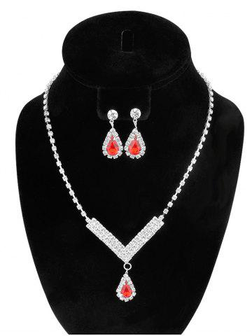 Affordable Water Drop Rhinestone Wedding Jewelry Set - RED  Mobile