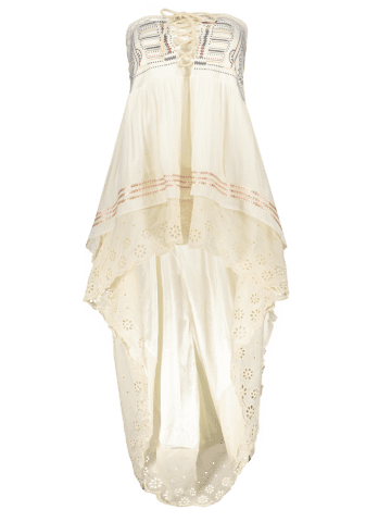 Outfits High-Low  Printed Asymmetric Skirt - L OFF-WHITE Mobile