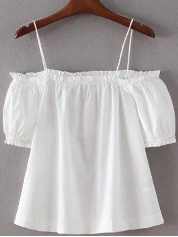 Buy Spaghetti Straps Solid Color Cold Shoulder T-Shirt WHITE S