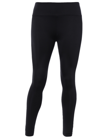 Fancy Stretched High Waisted Yoga Leggings - ONE SIZE BLACK Mobile