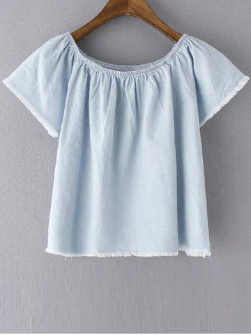 Outfits Stylish Short Sleeve Off The Shoulder Solid Color Women's T-Shirt