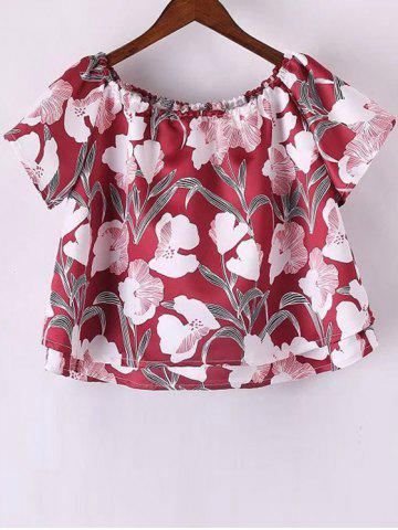 Store Stylish Short Sleeve Off The Shoulder Floral Print Women's T-Shirt RED M