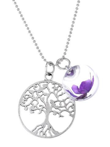 Hot Glass Dry Flower Life Tree Necklace PURPLE