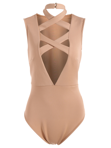 Sleeveless Tight Fit Plunge Low Cut Bodysuit - APRICOT S