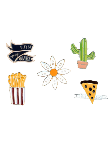 Shop Letter Floral Cheese Cactus Brooch Set - GOLDEN  Mobile