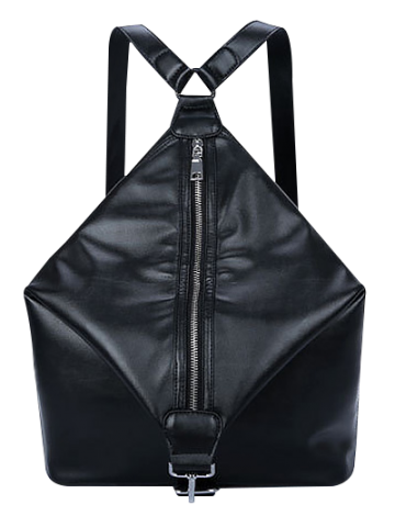 Outfit Metal Zip PU Leather Backpack