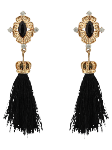 Cheap Rhinestone Crown Tassel Earrings
