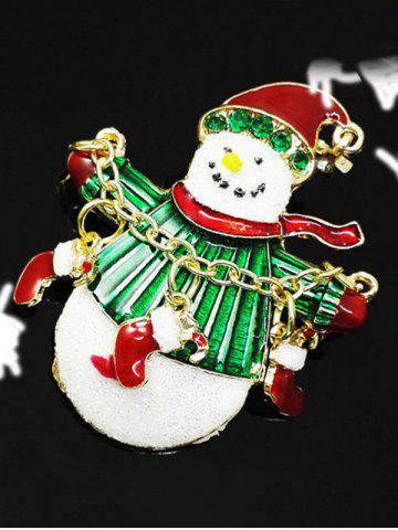 Trendy Christmas Snowman Gifts Enamel Brooch - GREEN  Mobile