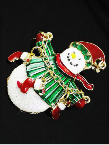 Shop Christmas Snowman Gifts Enamel Brooch - GREEN  Mobile