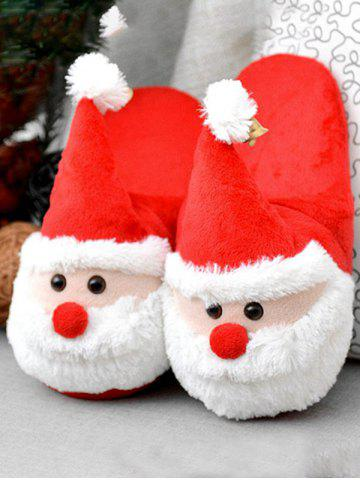 Sale Cartoon Flocking Christmas Slippers - SIZE(39-40) RED Mobile