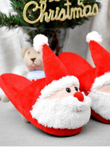 Latest Cartoon Flocking Christmas Slippers - SIZE(39-40) RED Mobile