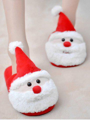 Buy Cartoon Flocking Christmas Slippers - SIZE(39-40) RED Mobile