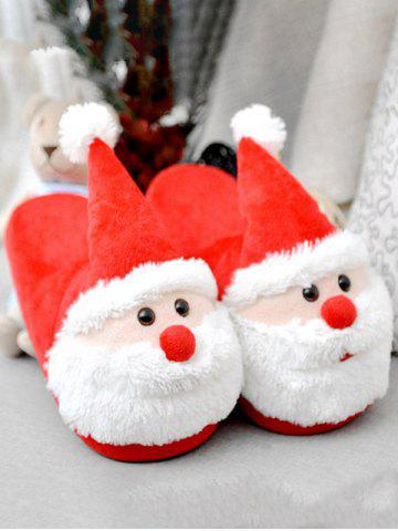 Online Cartoon Flocking Christmas Slippers - SIZE(39-40) RED Mobile
