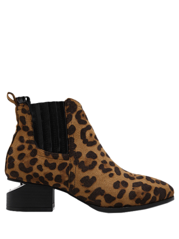 Hot Stitching Leopard Print Splicing Ankle Boots