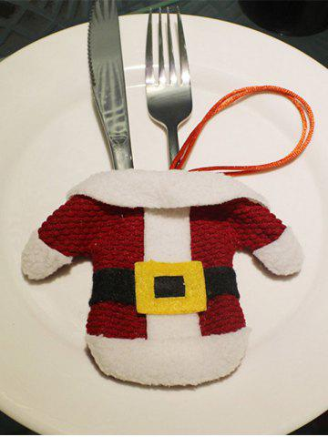 Christmas Party Table Decor Santa Clothes Tableware Holder Bag - RED/WHITE