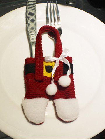 Shop Christmas Party Table Decor Santa Pants Tableware Holder Bag RED/WHITE