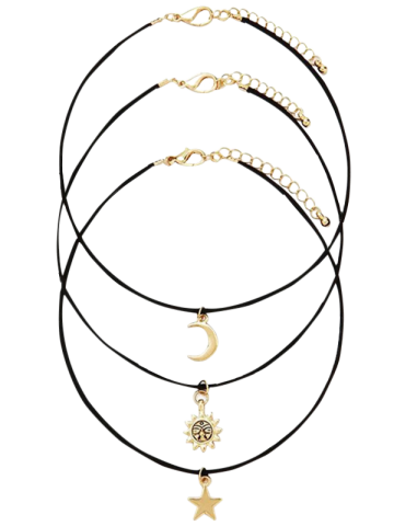 Fancy Retro Style Moon Star Sun Layered Necklace Set